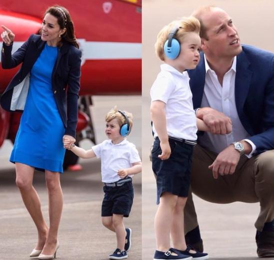 乔治小王子参观英空军基地 当众大哭求抱抱
