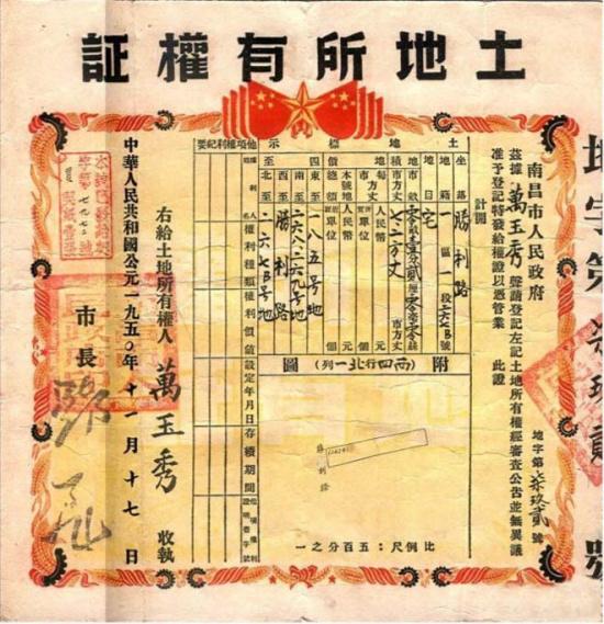 1950年政府颁发的《土地所有权证》