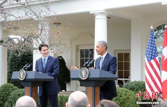 美国总统奥巴马当地时间3月10日在白宫与加拿大总理特鲁多会晤,会