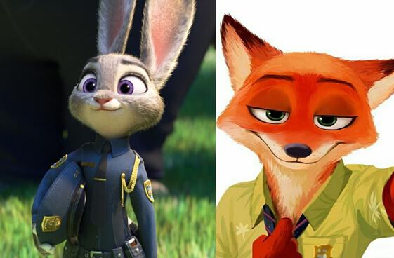 《疯狂动物城》兔子朱迪和狐狸尼克(图片来源于网络)