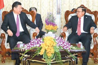 习近平同老挝国家主席本扬举行会谈