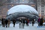 美国芝加哥遭遇严寒天气 连续两天遭遇降雪