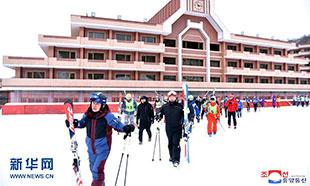朝韩滑雪运动员在朝共同训练