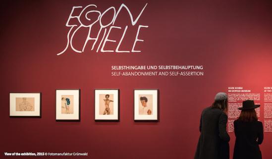 """席勒/利奥波德博物馆""""埃贡·席勒:自我厌弃与自我指涉""""展览现场"""