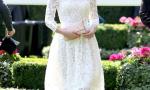 凯特王妃白色蕾丝裙配礼帽现身优雅迷人