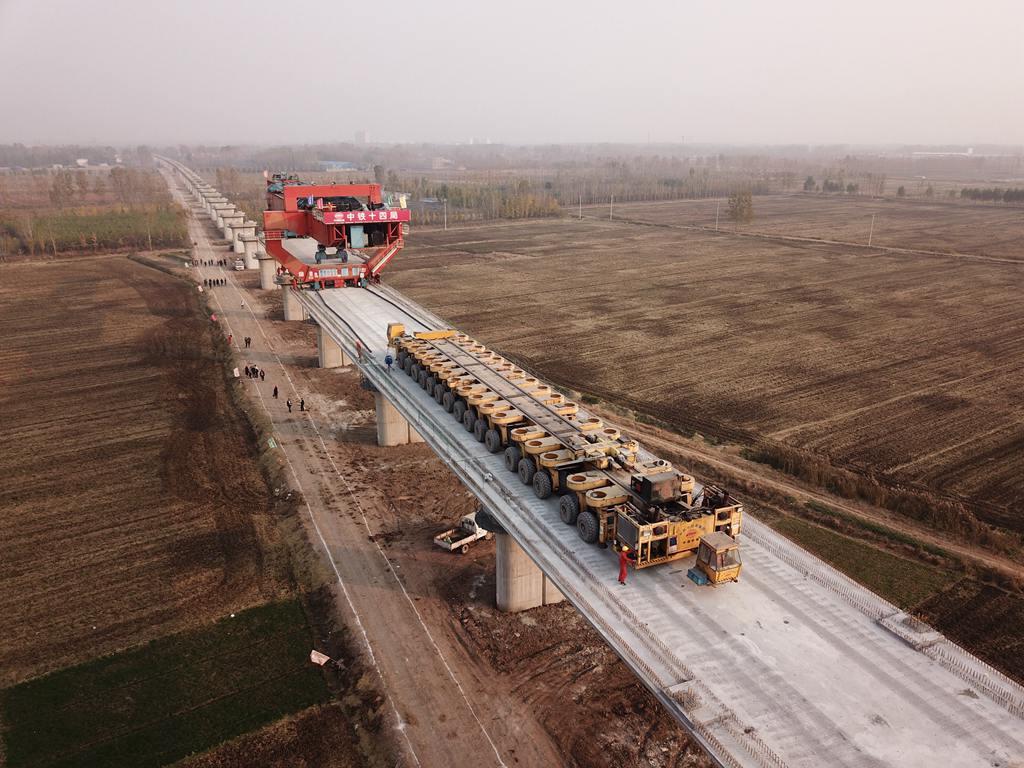 鲁南高铁箱梁架设全面展开 预计2019年通车