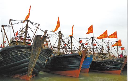 4月8日,曹妃甸举行首届妈祖女神开海节,蚕沙口溯河渔港码头船舶一字排开,旗帜飞扬。毕文丽 摄