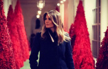 美白宫红色圣诞树惹争议 第一夫人:它们看起来非常棒