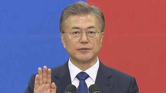 萨德/资料图:文在寅宣誓就任韩国第19届总统。