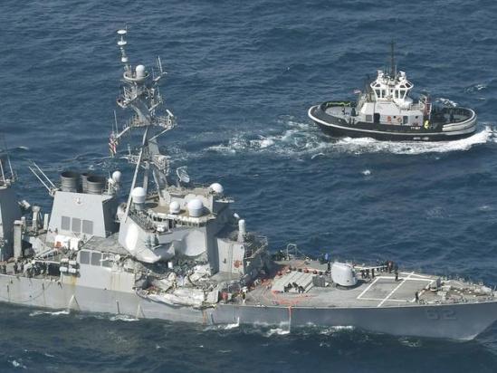 美军着手调查撞舰案 传菲律宾货轮事发前曾180度急转弯