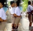 泰国两男生打架,老师罚彼此拥吻100次!
