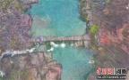 河南云台山迎桃花雪 红石峡美如油画